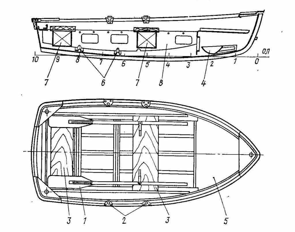Чертеж лодки Ерш