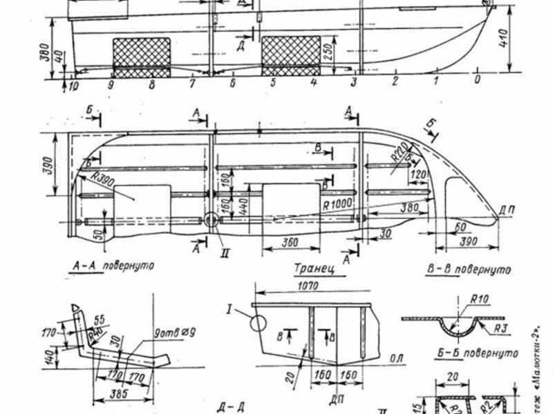 схематический рисунок лодки Малютка 2