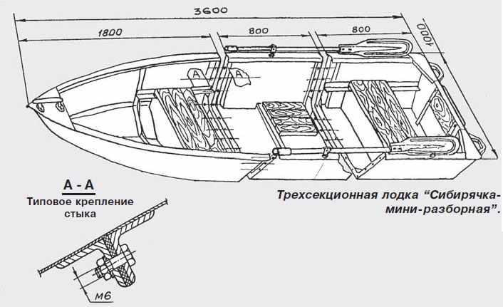 Схематический рисунок лодки Сибирячка-Мини