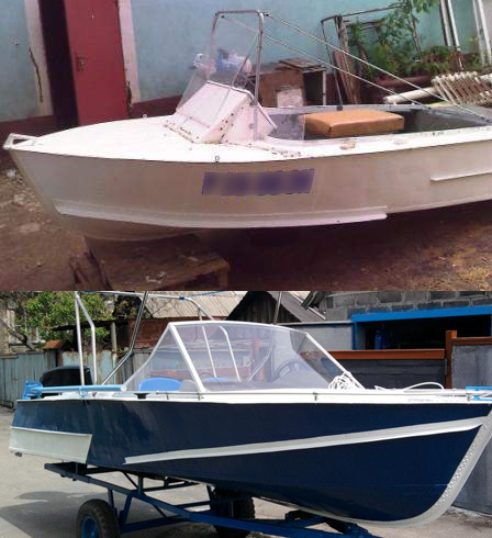 Доработка брызгоотбойников на лодке МКМ