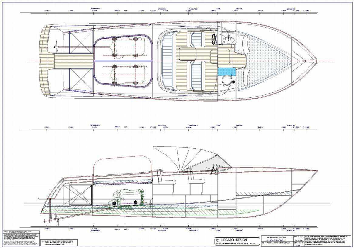 Чертеж катера Aquadelmo 31