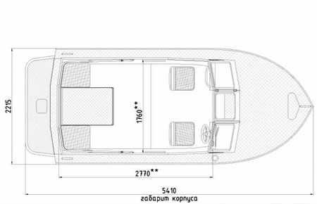 Размеры кокпита катера «Vigor 540 A»