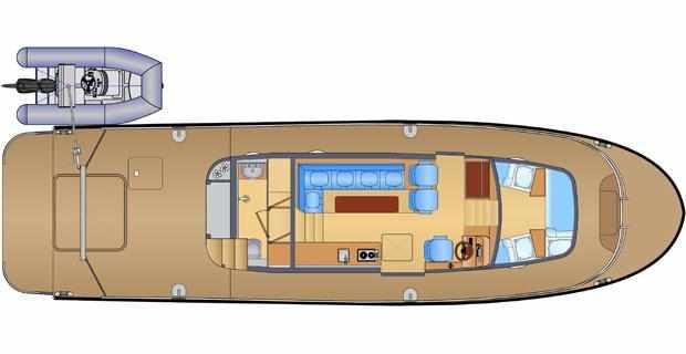 План палубы катера «Laky Verf 14M»