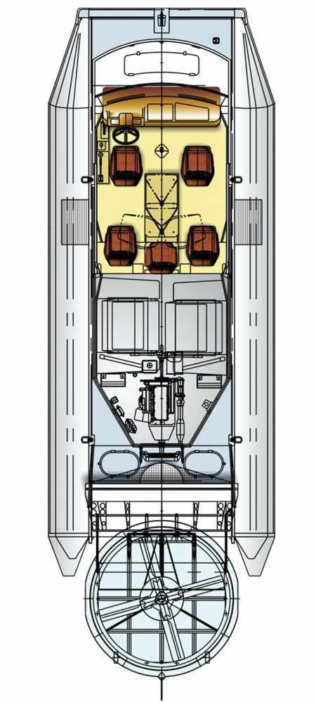 Конструкция катера на воздушной подушке Марс 700