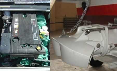 Водомет и стационарный двигатель на катере Охта 24