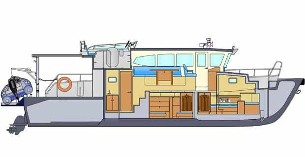 Расположение кают на катере «Laky Verf 14M»