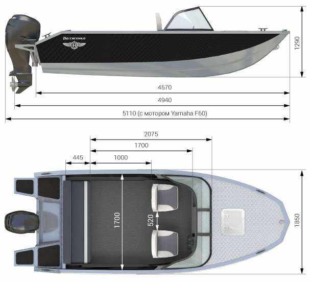 Размеры лодки Волжанка 46 Фиш
