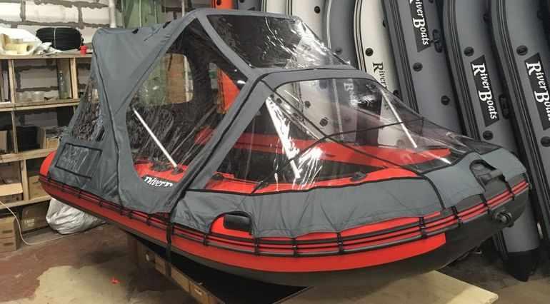 Лодка ПВХ RiverBoats RB-370 НДНД (Киль) с установленным тентом